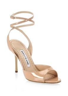 Manolo Blahnik Bartagina Patent Ankle Strap Sandals
