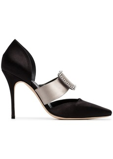 Manolo Blahnik black and grey vasliev 105 satin pumps