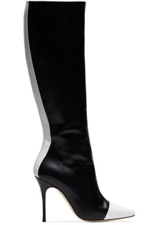 Manolo Blahnik black and white wakia 105 knee high leather boots