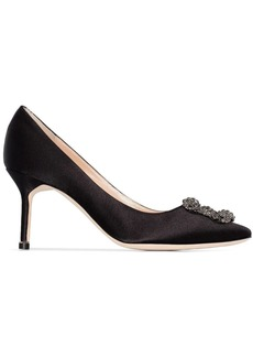 Manolo Blahnik black Hangisi 70 silk satin pumps