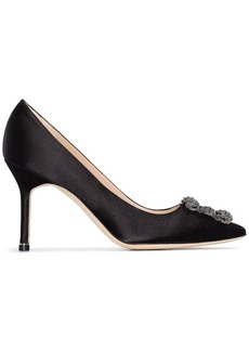 Manolo Blahnik black Hangisi 90 satin pumps