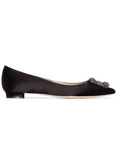 Manolo Blahnik black Hangisi flat satin pumps