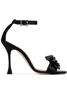 Manolo Blahnik black vinkaos 105 satin sandals