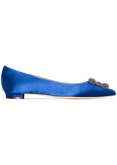 Manolo Blahnik blue hangisi satin flat pumps