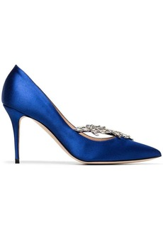 Manolo Blahnik blue Nadira 90 satin ribbon crystal pumps