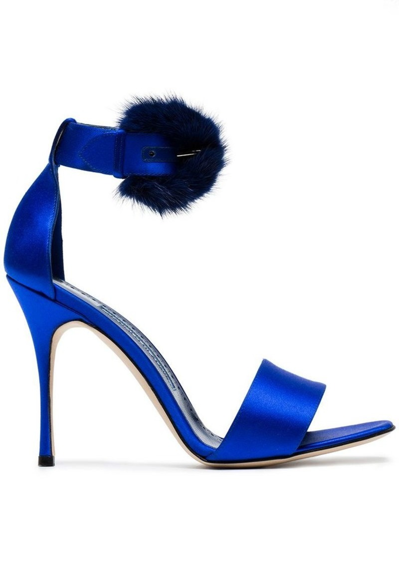 Manolo Blahnik Blue Trespola 105 Satin Fur Sandals