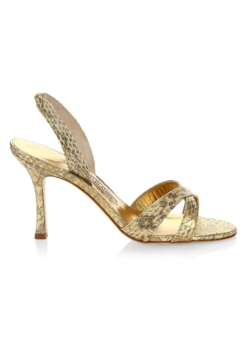 Manolo Blahnik Calla Snakeskin Slingback Sandals