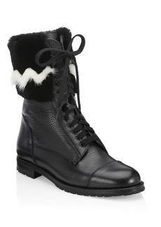 Manolo Blahnik Campchato Rabbit & Mink Fur Boots