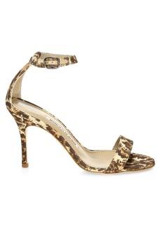 Manolo Blahnik Chaos Ankle-Strap Leopard-Print Cotton Sandals