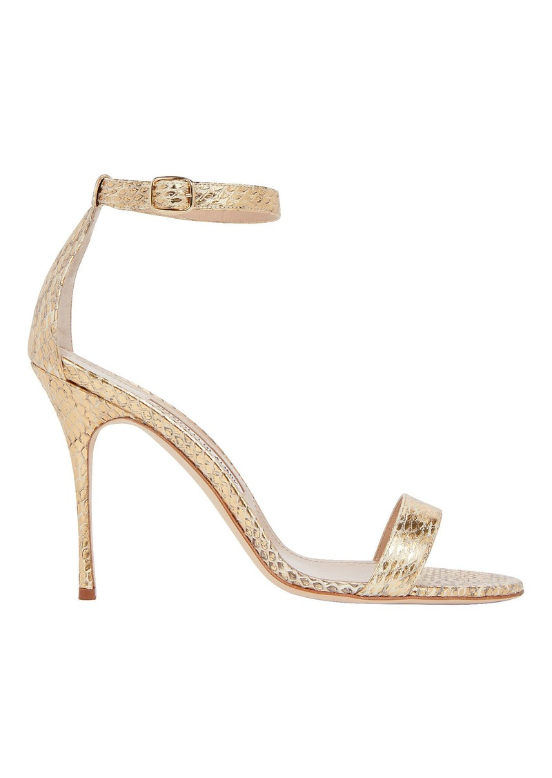 Manolo Blahnik Chaos Python-Embossed Sandals