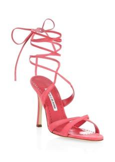 Manolo Blahnik Crisscross Suede Lace-Up Sandals