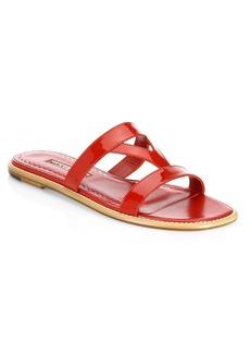 Manolo Blahnik Fiondata Leather Slides