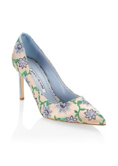 Manolo Blahnik Flower Fabric Stiletto Pumps