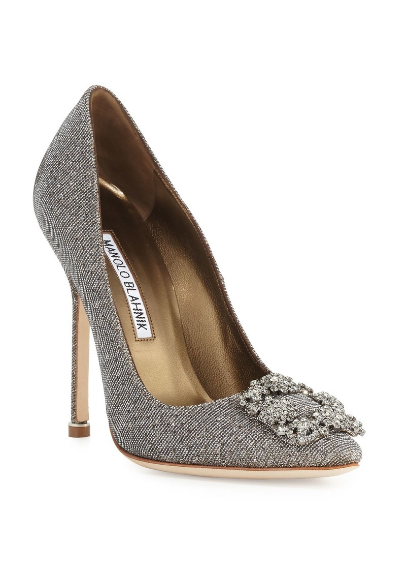 Manolo Blahnik Hangisi Crystal-Buckle Shimmery 115mm Pumps  Gold