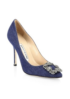 Manolo Blahnik Hangisi 105 Embellished Denim Pumps