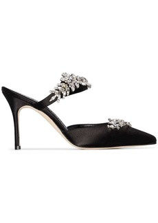 Manolo Blahnik Lurum 90mm crystal- embellished satin mules