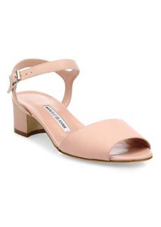 Manolo Blahnik Affian Leather Ankle-Strap Block Heel Sandals