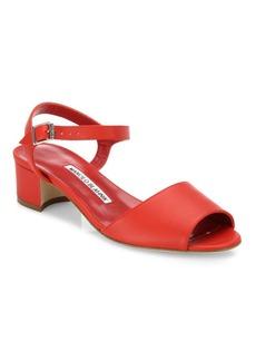Manolo Blahnik Affian Leather Ankle-Strap Block-Heel Sandals
