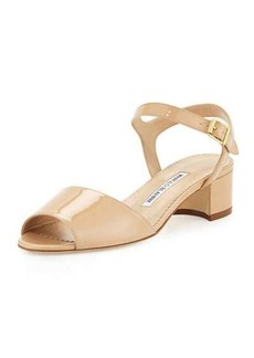 Manolo Blahnik Affian Patent Chunky-Heel Sandal