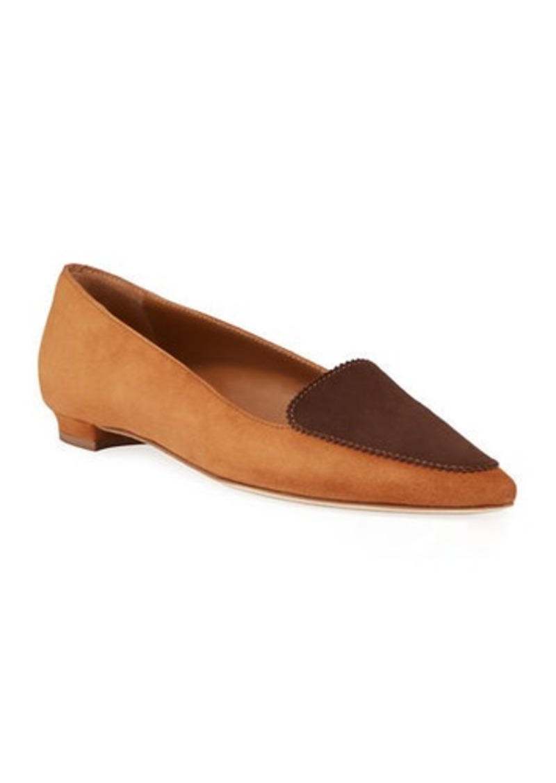 Manolo Blahnik Agos Two-Tone Suede Ballerina Flat Loafers
