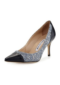 Manolo Blahnik Alban Tweed Pointed-Toe Pump
