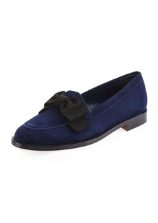 Manolo Blahnik Aldenabow Suede Bow Loafer