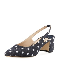 Manolo Blahnik Allurasa Polka-Dot Denim Slingback Pumps