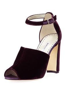 Manolo Blahnik Aminta Velvet Ankle-Wrap Sandal
