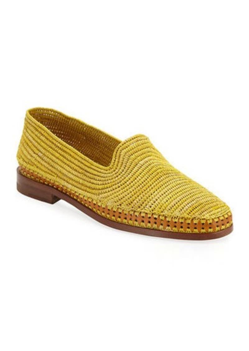 Manolo Blahnik Amira Woven Raffia Slip-On Loafers