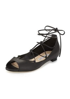 Manolo Blahnik Aneska Leather Lace-Up Open-Toe Flat