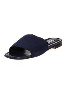 Manolo Blahnik Arcara Suede Scalloped Slide Flat Sandal