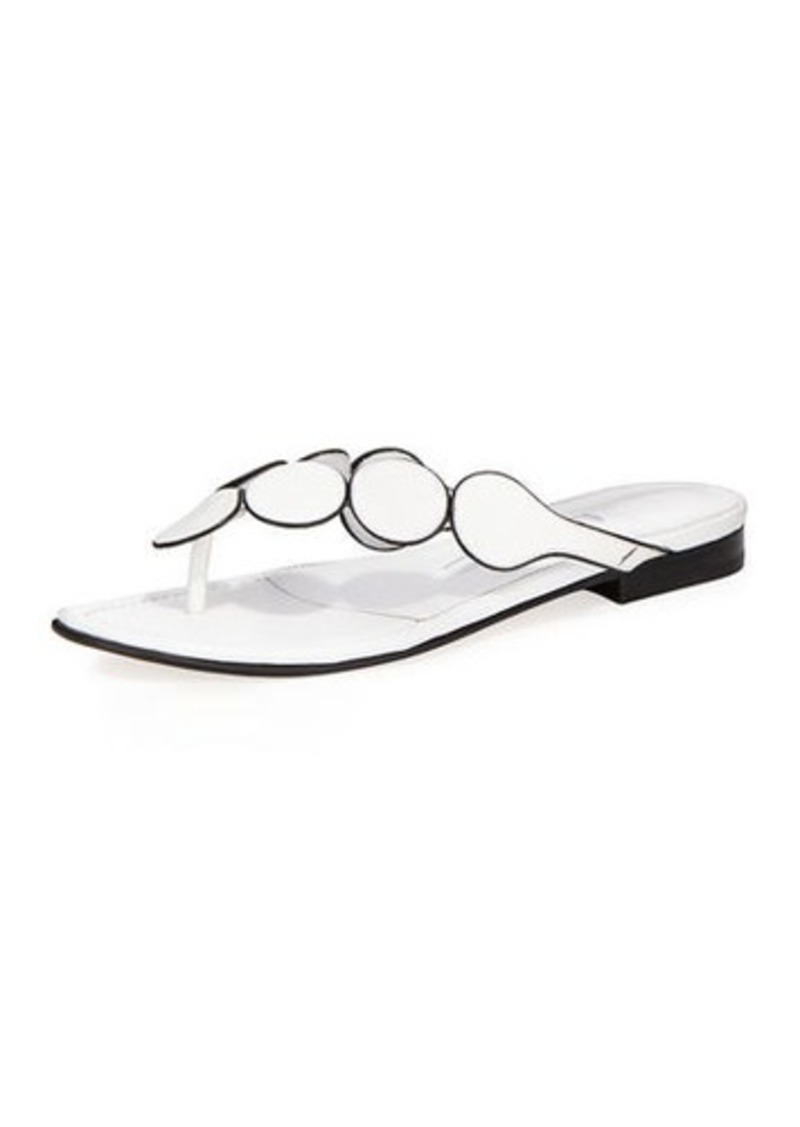 Manolo Blahnik Ariflat Leather Thong Sandals