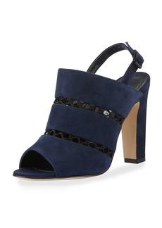 Manolo Blahnik Aspendum Suede Net Mule Sandals