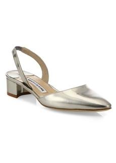 Manolo Blahnik Aspro Patent Metallic Leather Block Heel Slingbacks