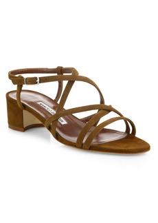 Manolo Blahnik Atrita Strappy Suede Block Heel Sandals