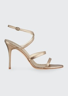 Manolo Blahnik Bacca Metallic Strappy Stiletto Sandals