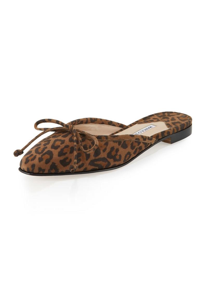 83b9bb121023 On Sale today! Manolo Blahnik Ballerimu Suede Bow Ballerina Mule Flat