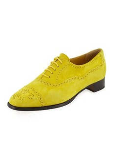 Manolo Blahnik Bath Suede Brogue Oxford