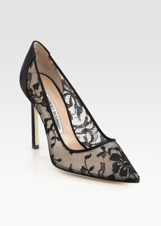 Manolo Blahnik BB 105 Lace & Satin Pumps