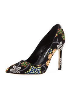 Manolo Blahnik BB 105mm Metallic Fabric Pumps