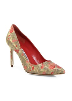 Manolo Blahnik BB 90 Metallic Point Toe Pumps