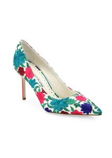 Manolo Blahnik BB Floral-Embroidered Pumps