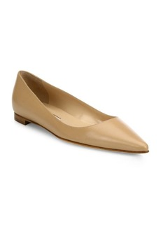Manolo Blahnik BB Leather Point Toe Flats