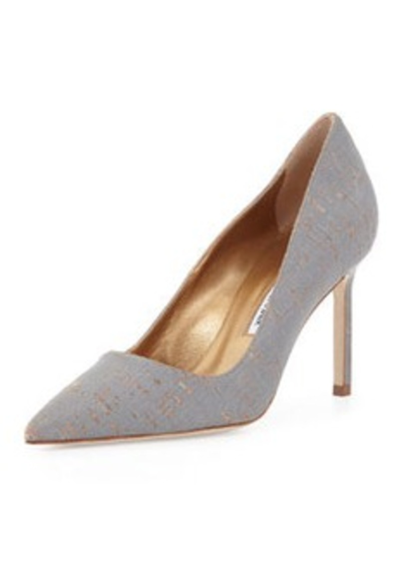 Manolo Blahnik BB Metallic-Coated Cork Pump, Gray