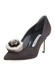 Manolo Blahnik BB Roska Fur-Trim Suede Pump