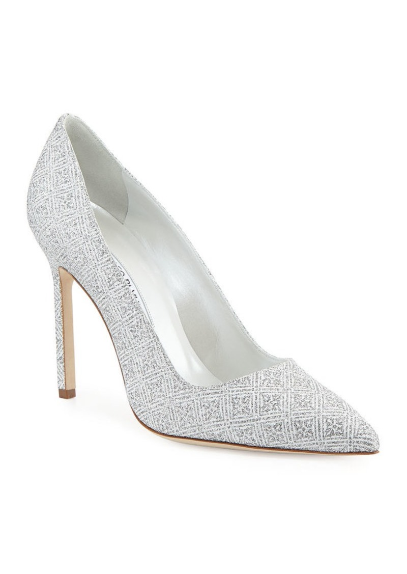 Manolo Blahnik BB Snowflake Glitter Point-Toe Pump