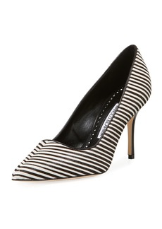 Manolo Blahnik BB Striped Calf Hair Pumps