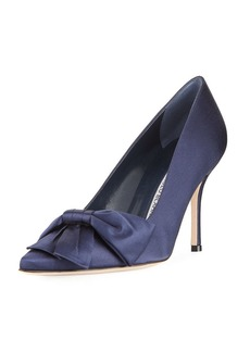 Manolo Blahnik Beccara Satin Bow Pump