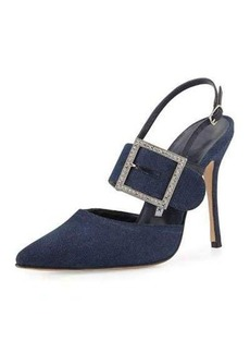 Manolo Blahnik Beladona Denim Buckled Slingback Pump
