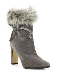 Manolo Blahnik Belemfu Calf Hair & Agnello Fur Booties
